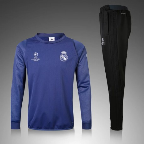 b21962734ad Survetement Real Madrid Ligue des Champions 2016-2017 Bleu - Maillot ...